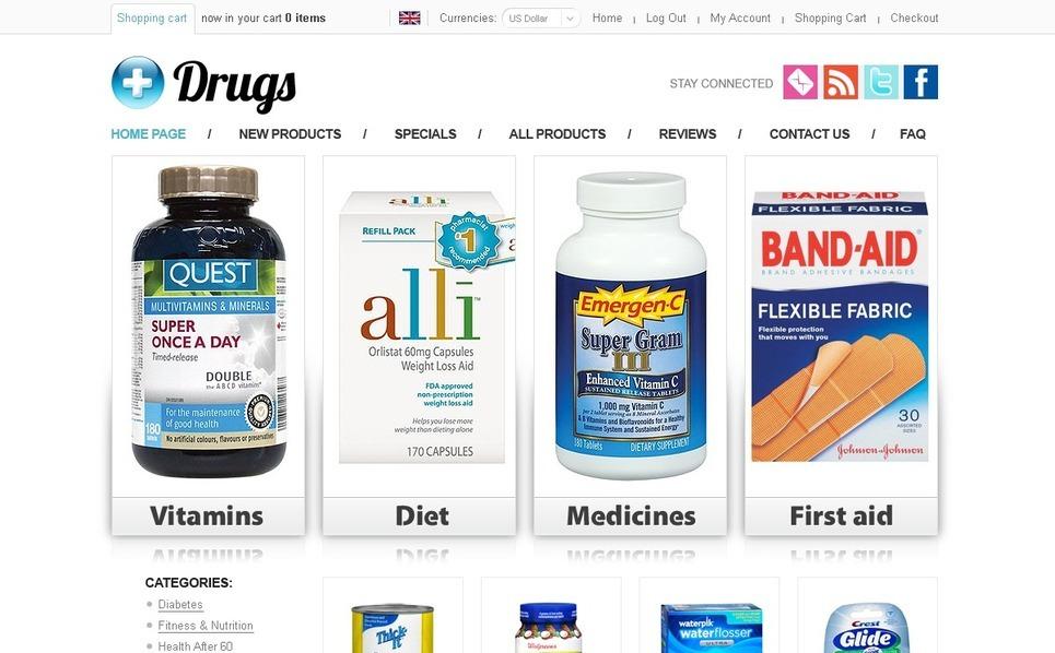 Drug Store ZenCart Template New Screenshots BIG