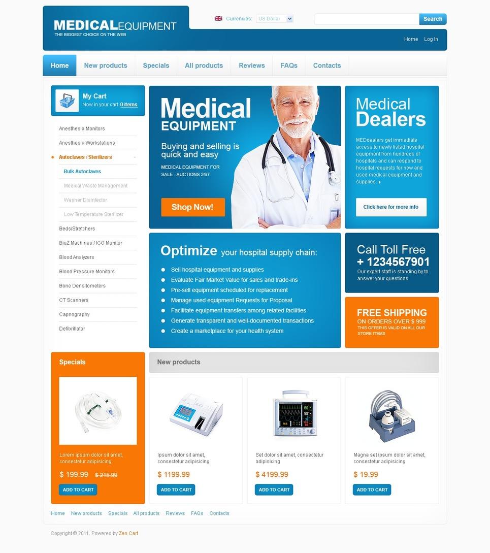 medical equipment zencart template new screenshots big