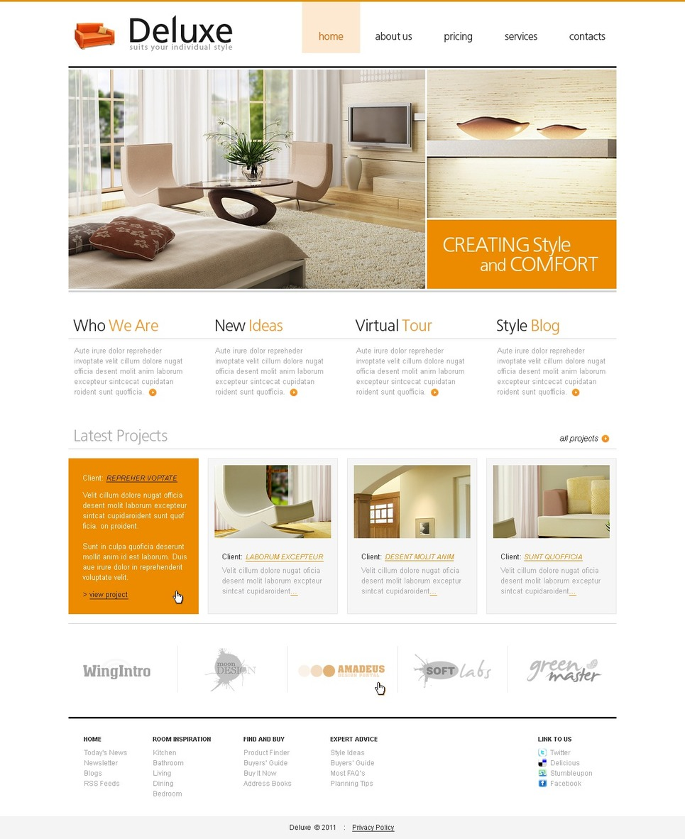 Interior design website template 32612 for House design websites free