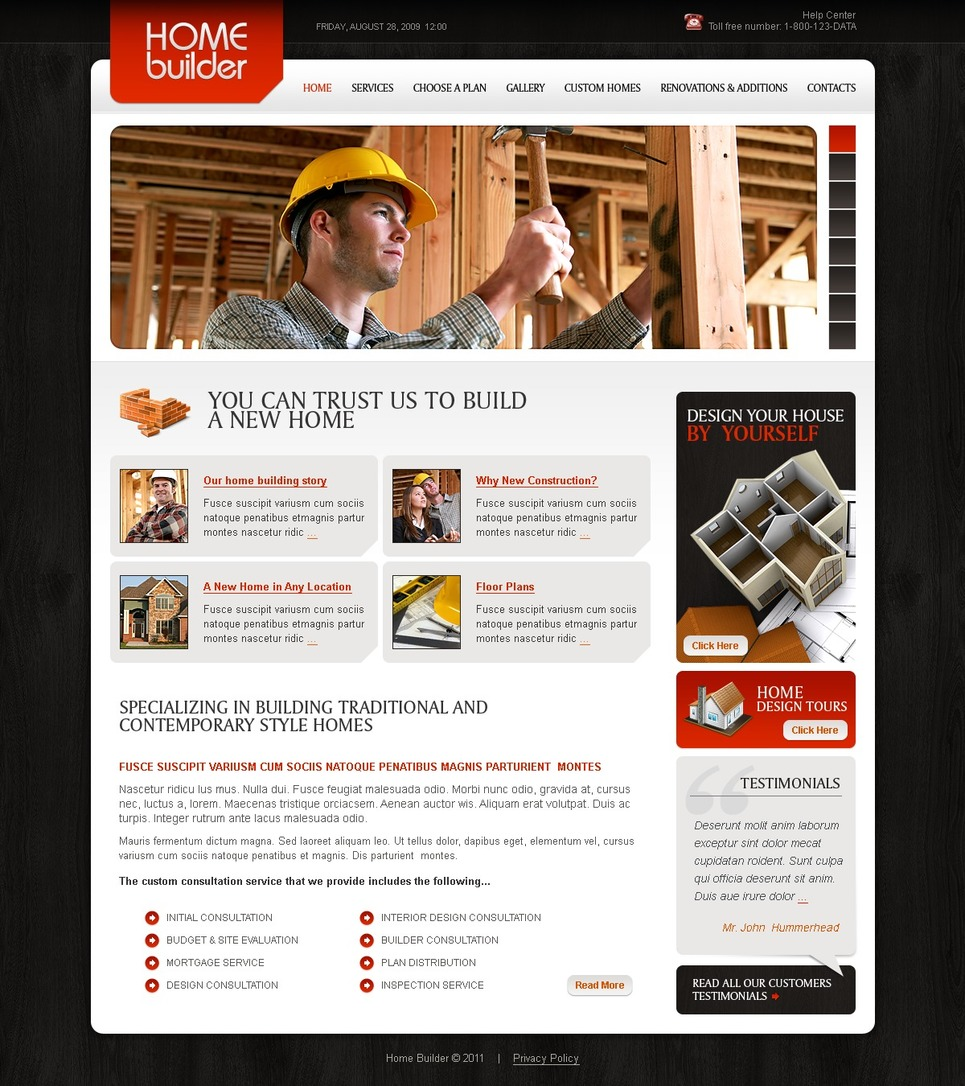 Construction company website template 32614 for Build a house website