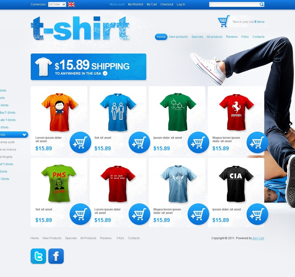 T-shirt Shop ZenCart Template New Screenshots BIG