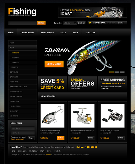 Заказ создания сайта или интернет магазина на тему Спорт, Интернет магазины, VirtueMart шаблоны, jQueryшаблоны, на основании шаблона №32696.