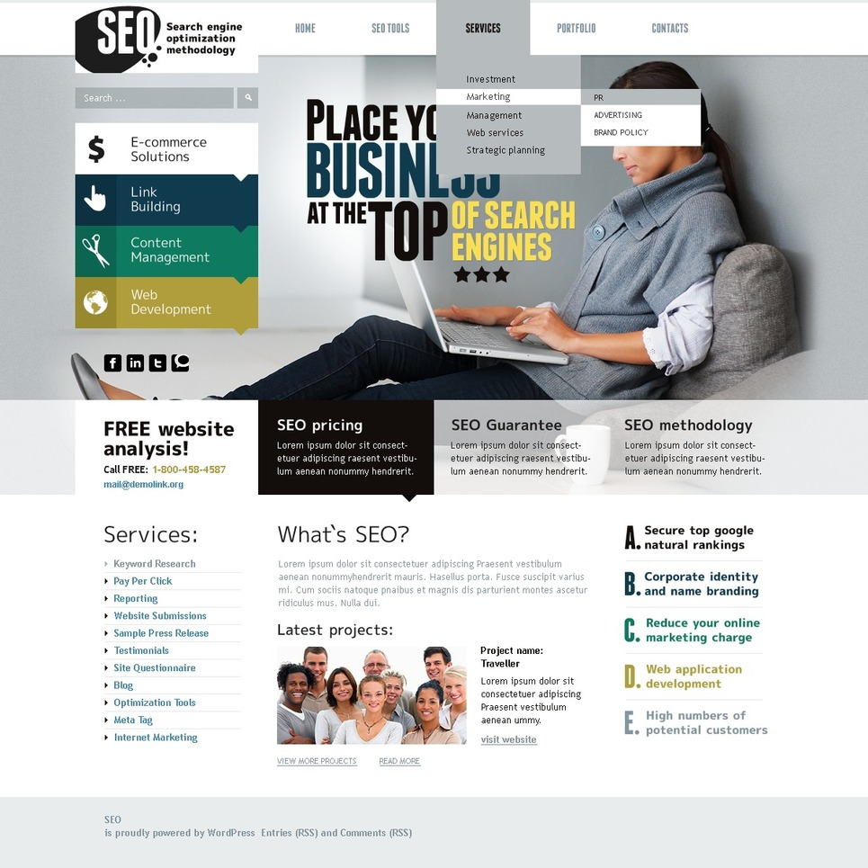 SEO Website WordPress Theme New Screenshots BIG