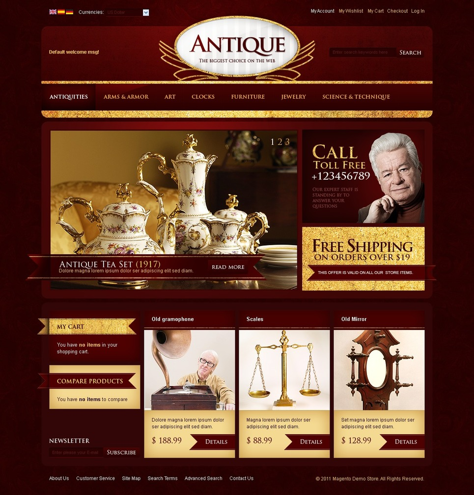 Antique Store Magento Theme New Screenshots BIG