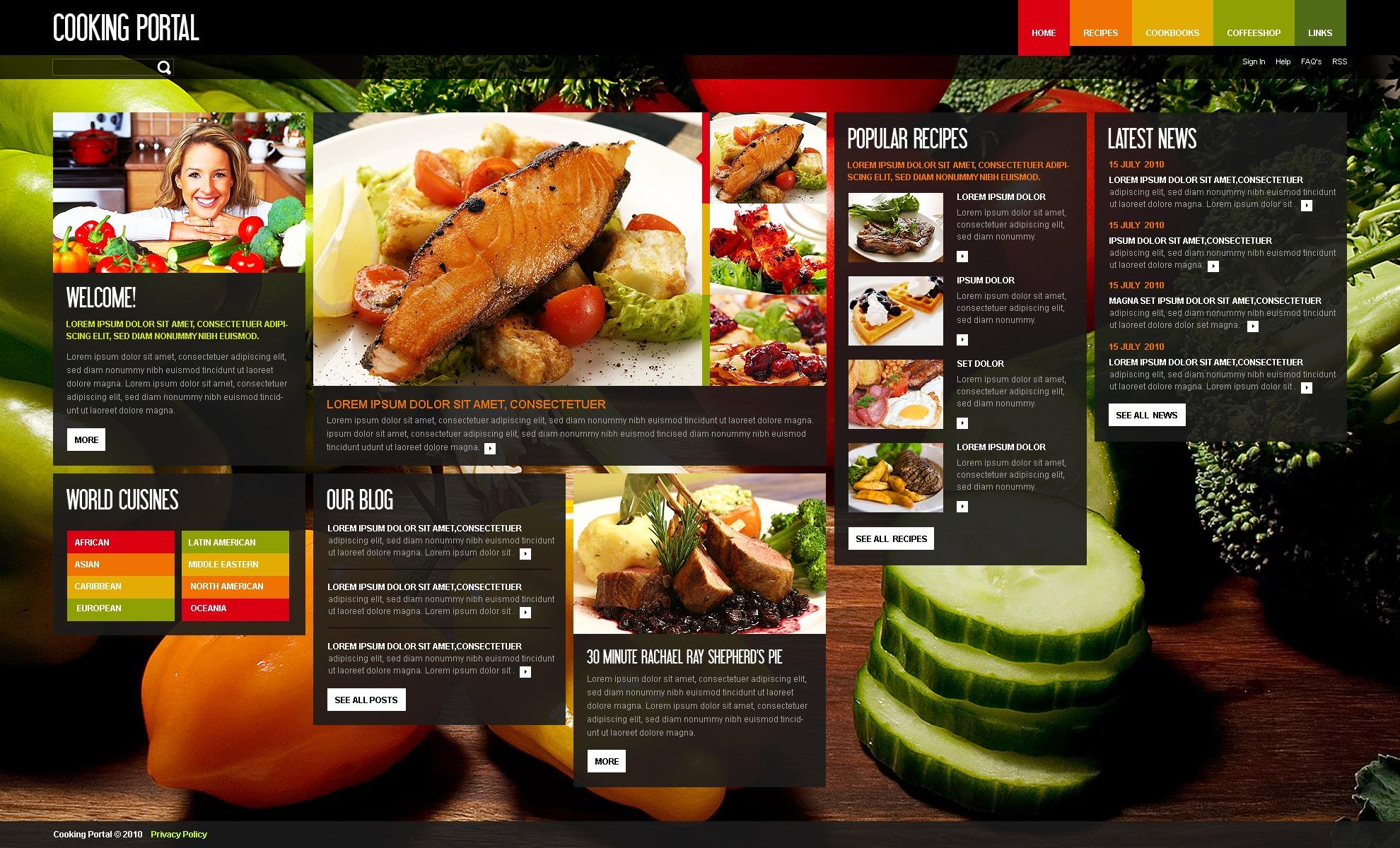 Modello siti web per un sito di cucina for Siti di ricette cucina