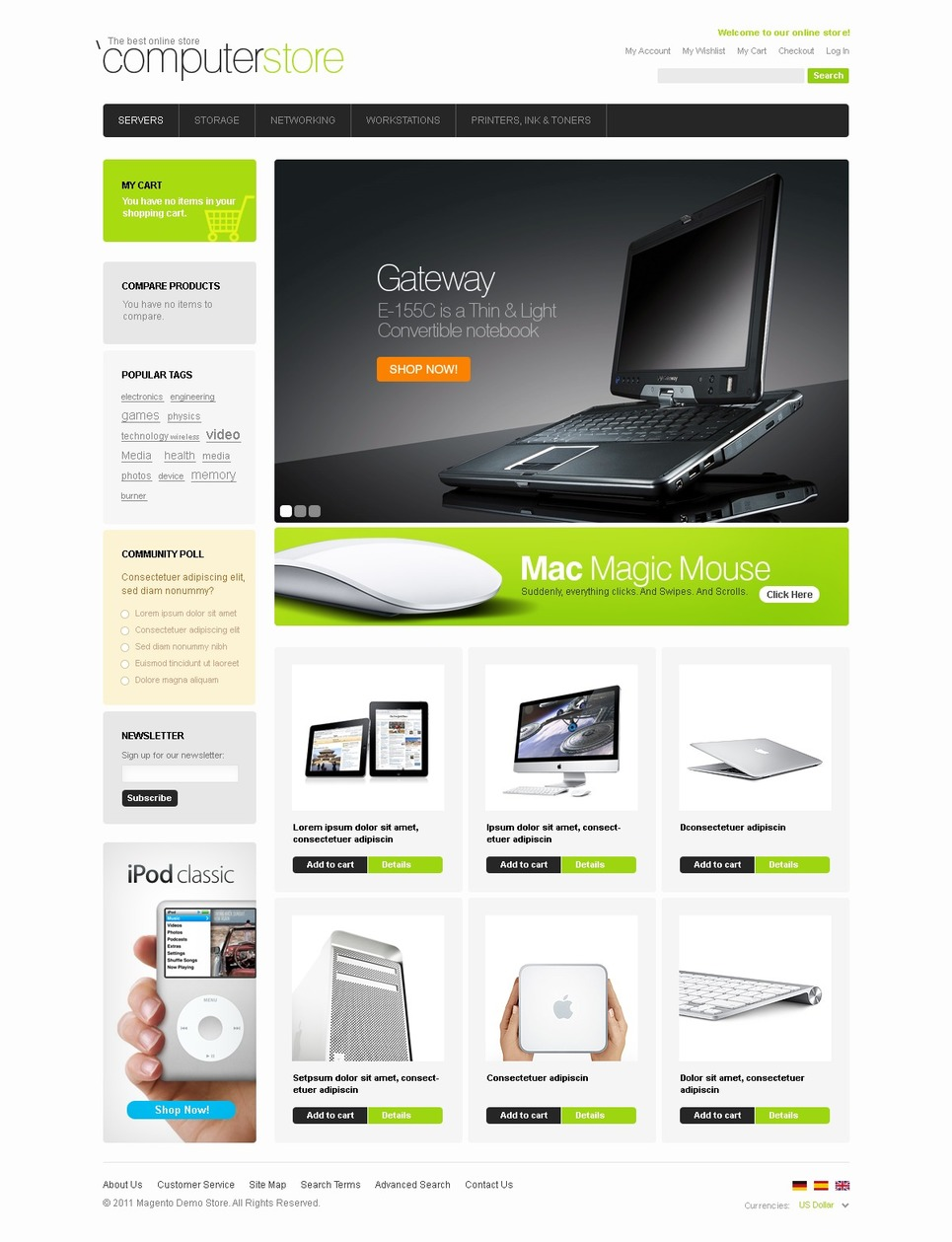 Computer Store Magento Theme New Screenshots BIG