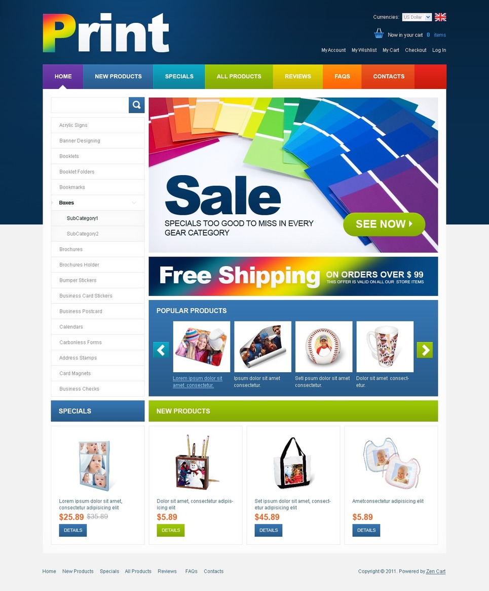Print Shop ZenCart Template New Screenshots BIG