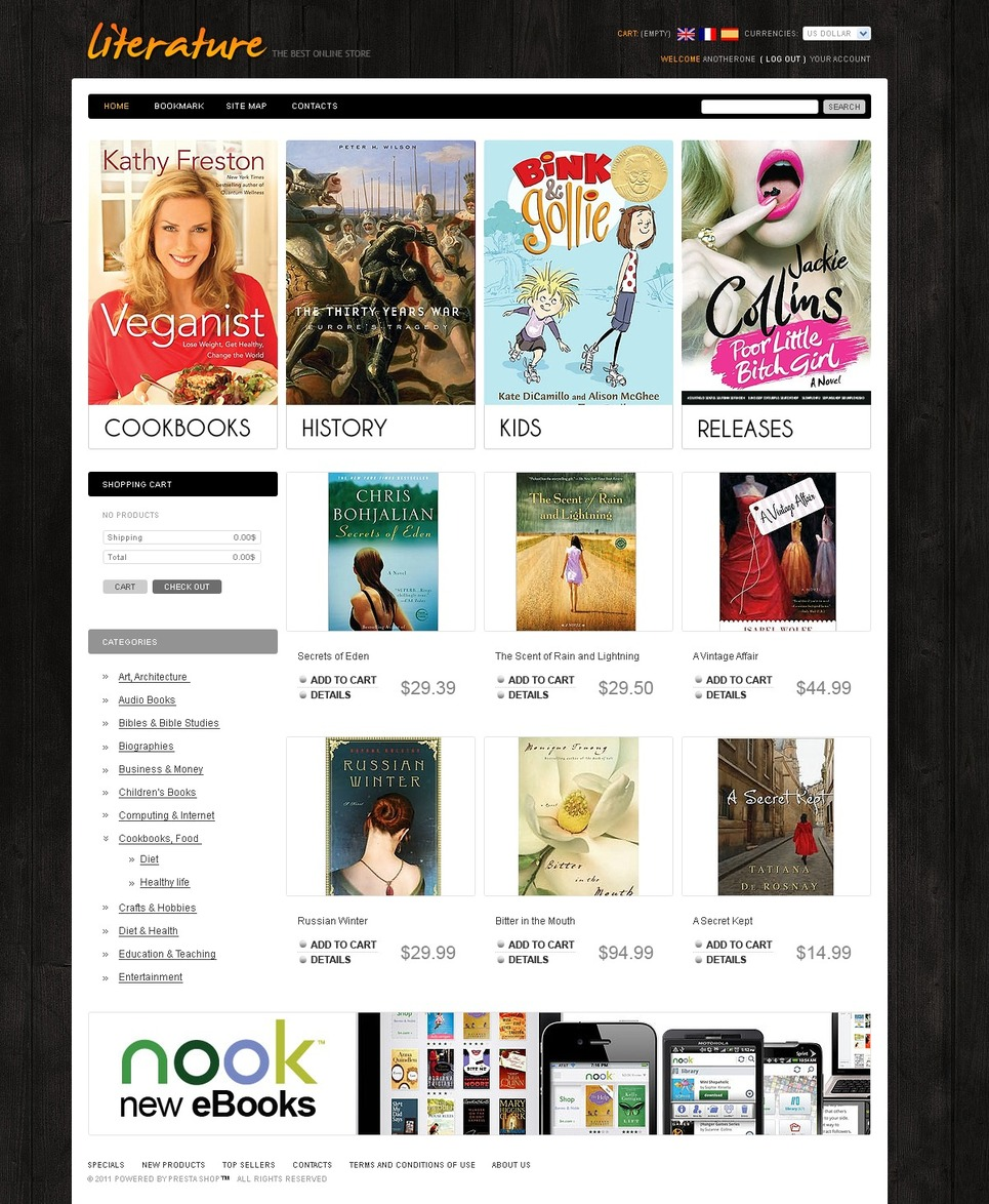 Reader's Store PrestaShop Theme New Screenshots BIG