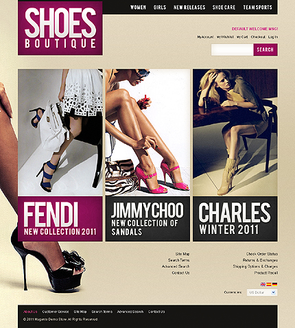 Shoes boutique - Pre-Eminent Footwear Store Magento Template