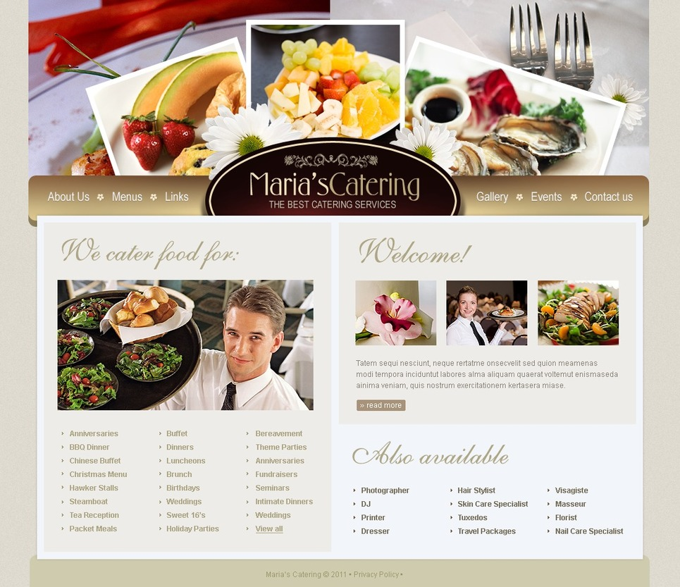 Catering SWiSH Template New Screenshots BIG