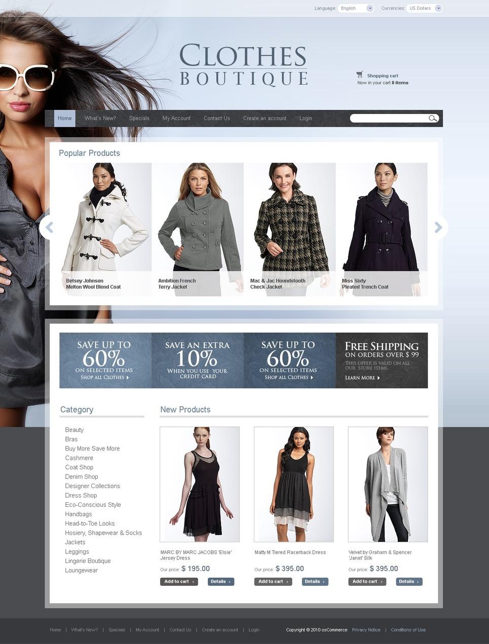Iconic Clothes Boutique OSCommerce Web Store Theme
