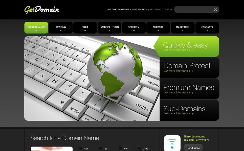 Domain Registrar Website Template New Screenshots BIG