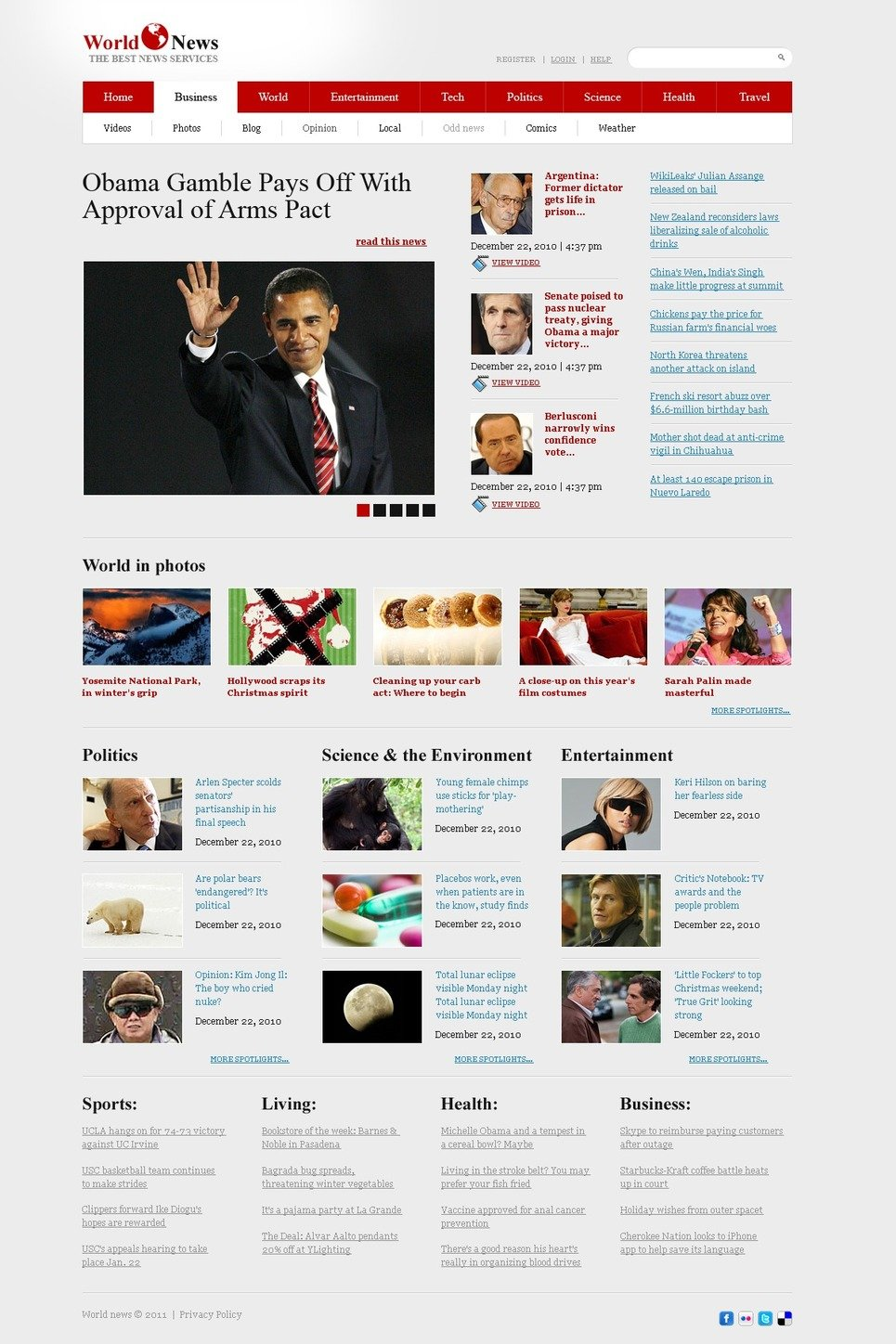 Outstanding News Website Templates Free Vignette - Professional ...