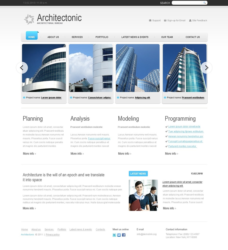 Plantilla web 33563 para sitio de arquitectura for Arquitectura sitio web