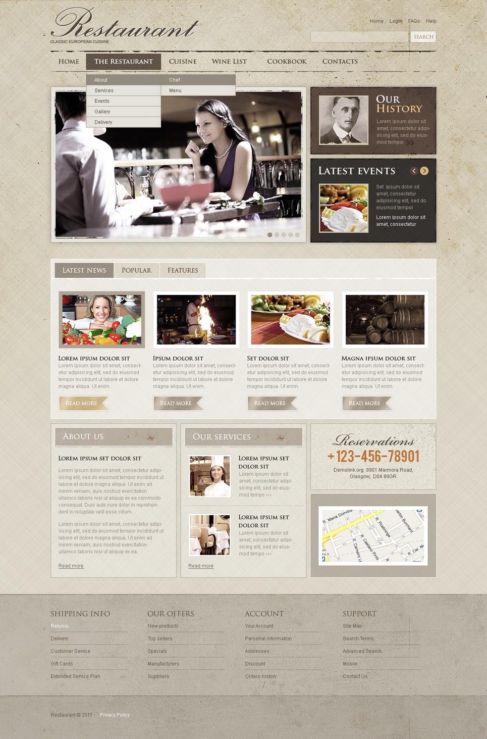 European Restaurant Joomla Template New Screenshots BIG