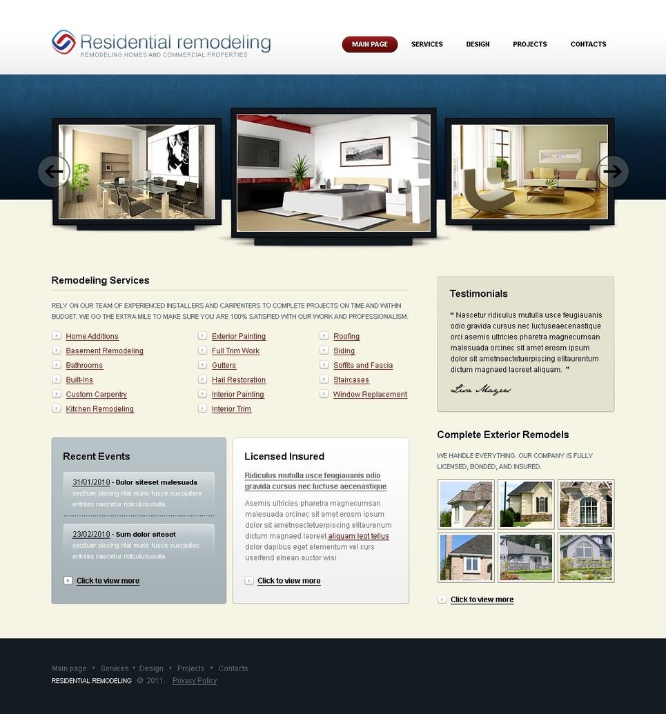 Home Remodeling SWiSH Template New Screenshots BIG