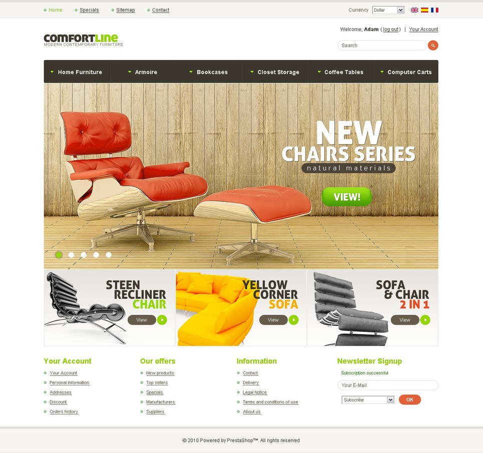 Comfortable Chairs PrestaShop Theme New Screenshots BIG