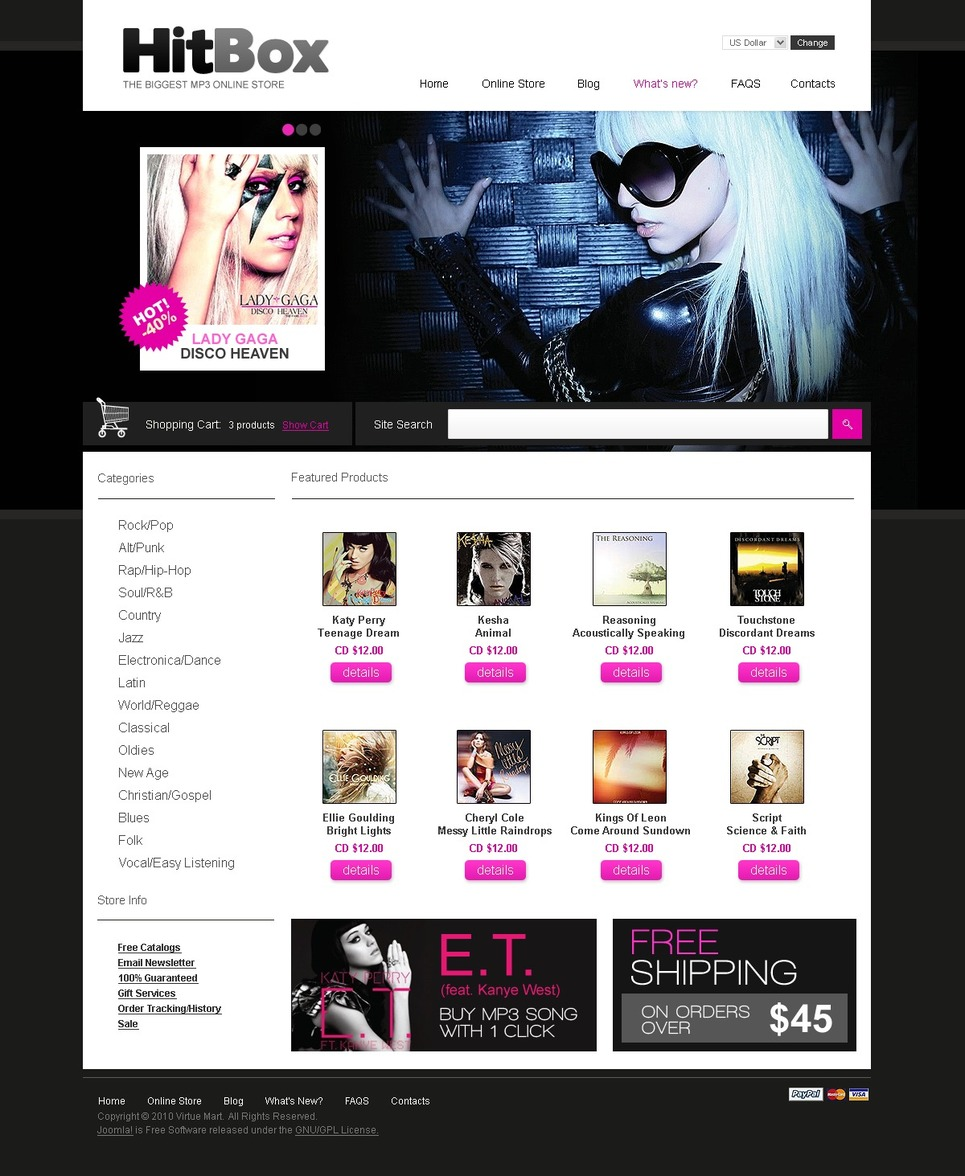 MP3 Store VirtueMart Template New Screenshots BIG