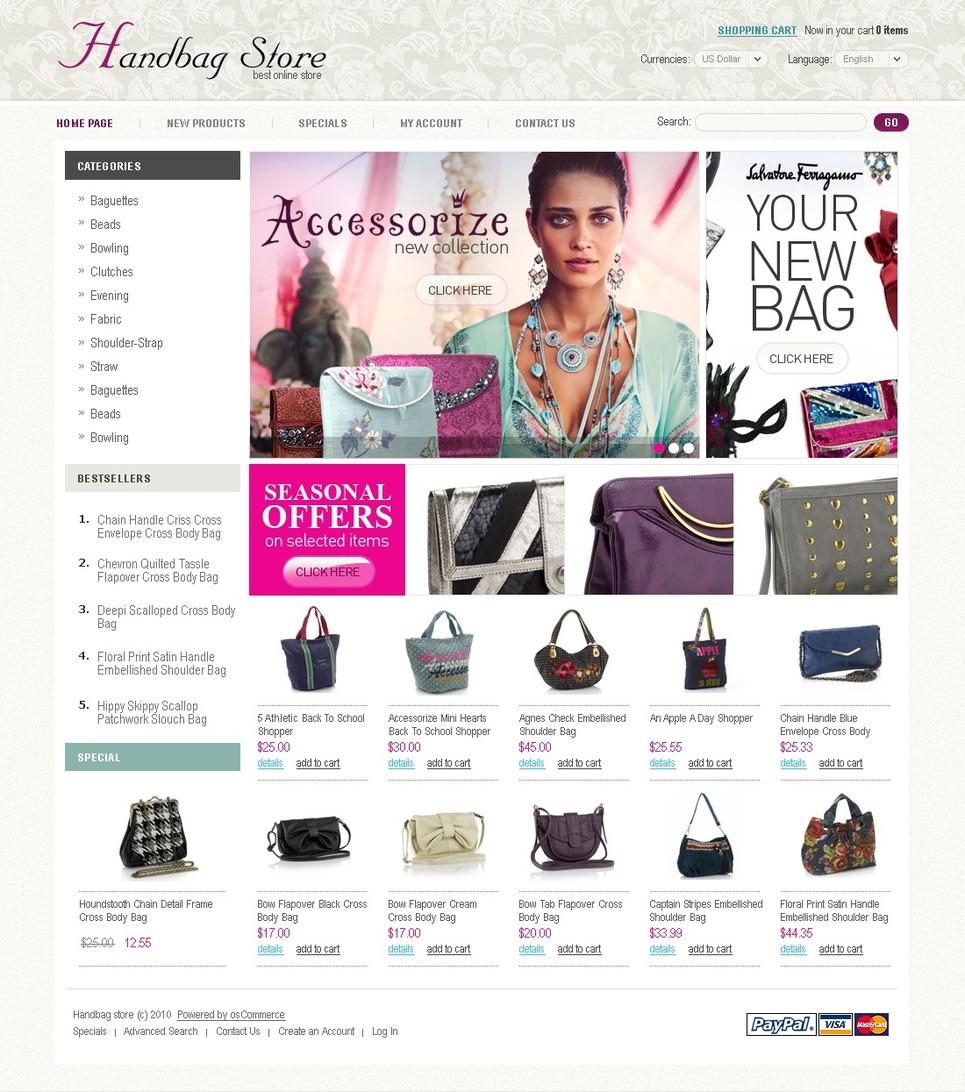 Simple yet Functional Handbags OsCommerce Template in Basics of White