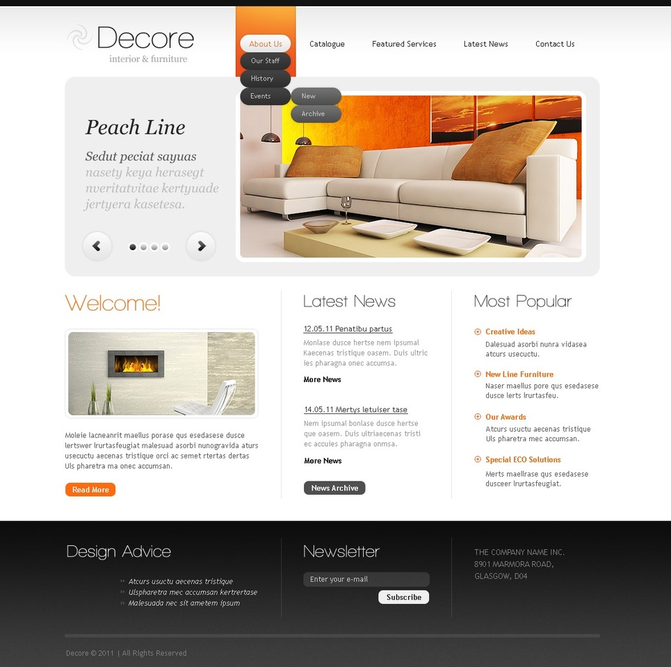 Interior And Furniture Website Template Web Design Templates Website Templates Download