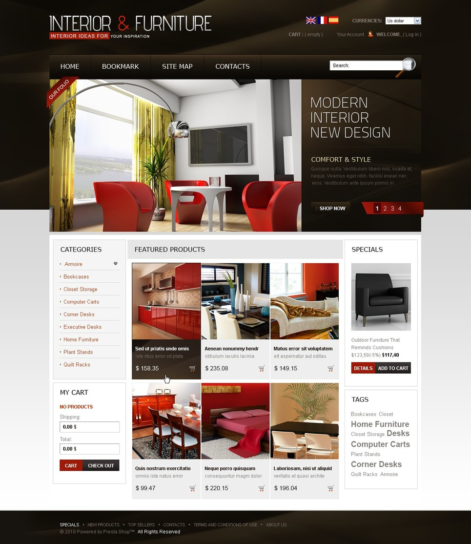 Interior furniture prestashop theme 33937 for Presta shop templates