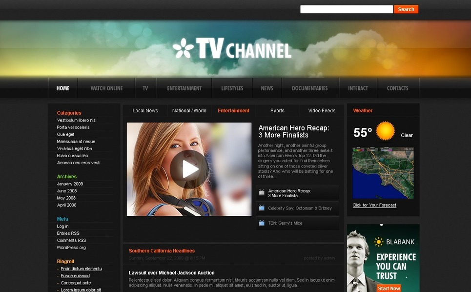 TV Channel WordPress Theme New Screenshots BIG