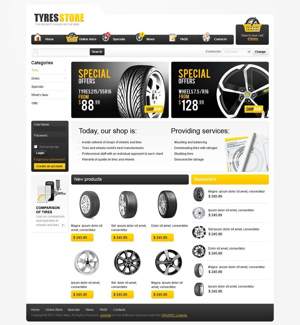 Wheels & Tires VirtueMart Template New Screenshots BIG