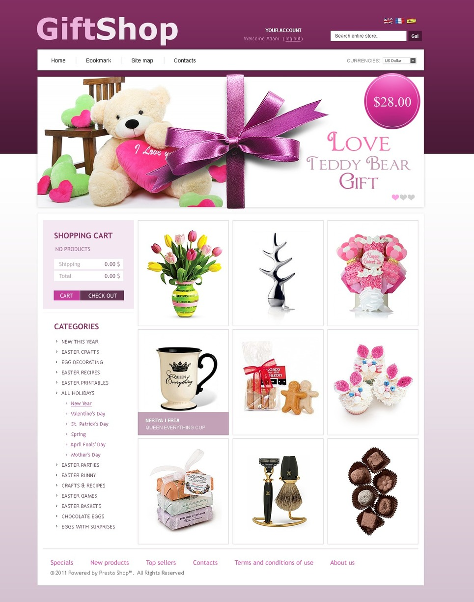 Presents&Gifts PrestaShop Theme New Screenshots BIG