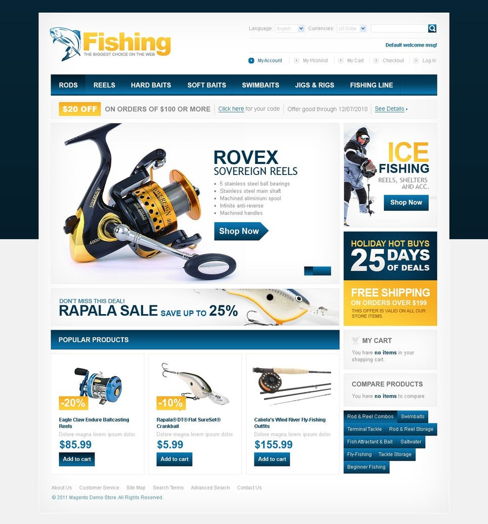 Fishing Magento Theme New Screenshots BIG