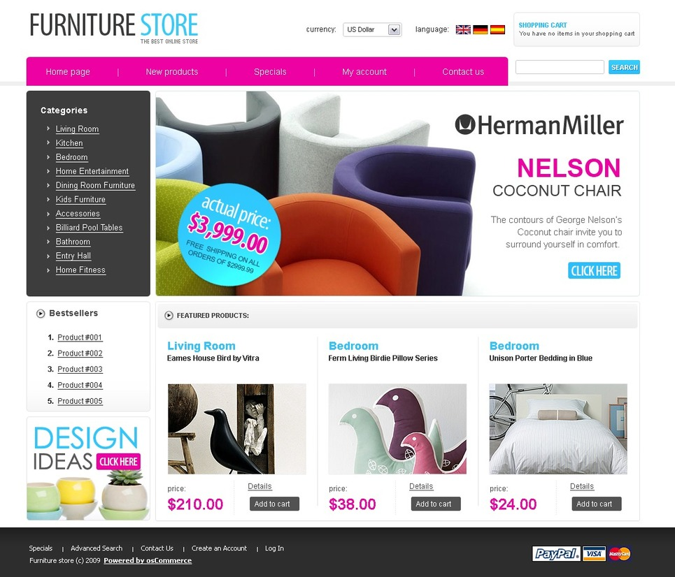 Modern Theme for Modern Furniture Store OSCommerce Theme