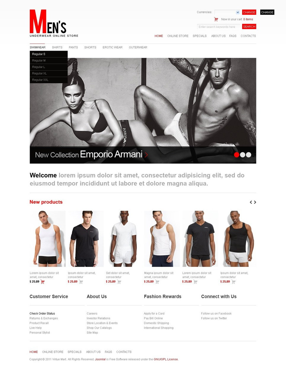 Men's Underwear VirtueMart Template New Screenshots BIG