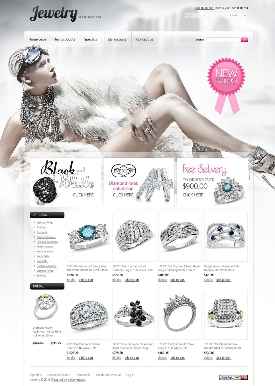 Jewelry OsCommerce Template New Screenshots BIG
