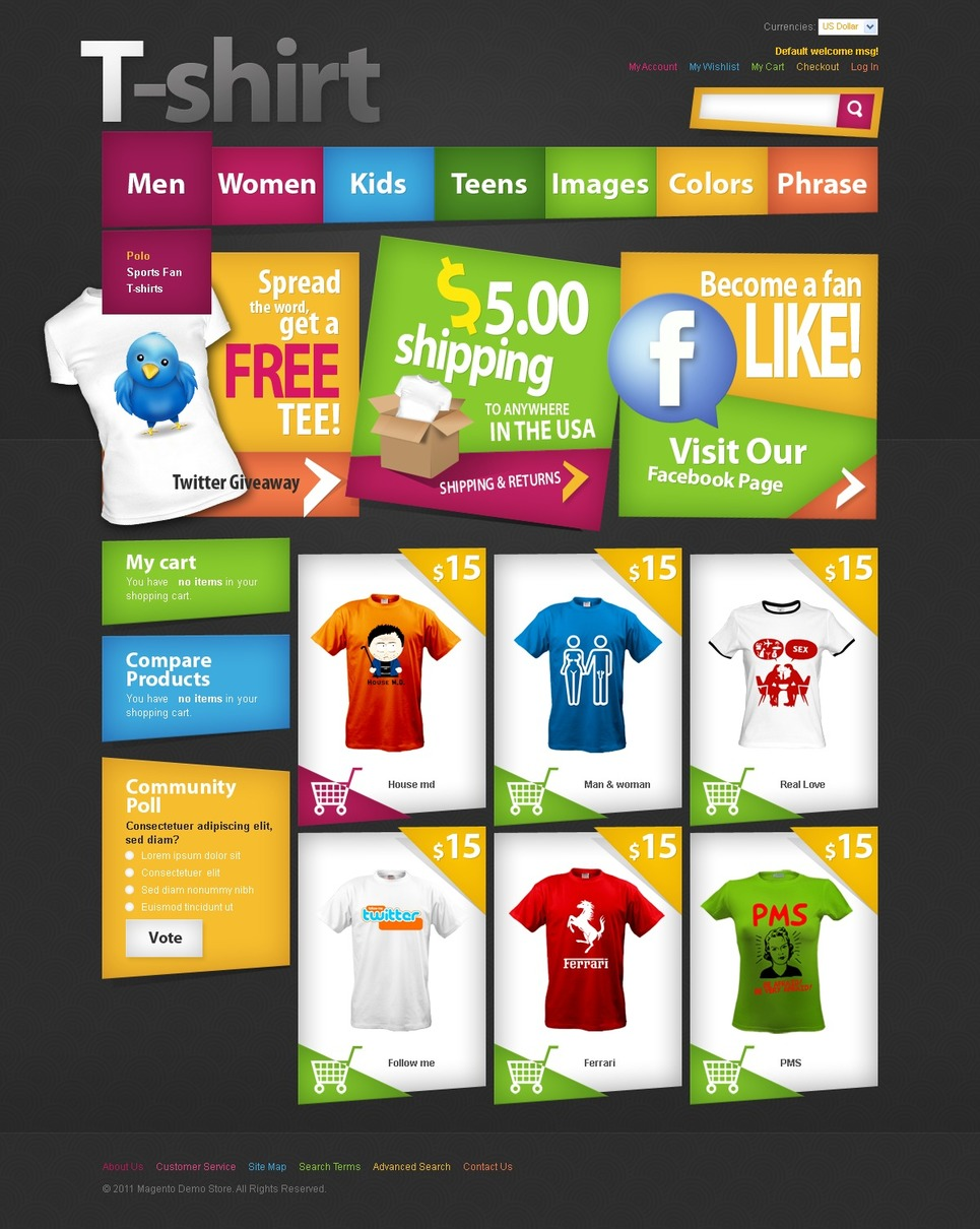 T shirt shop magento theme web design templates website for Websites to create shirts