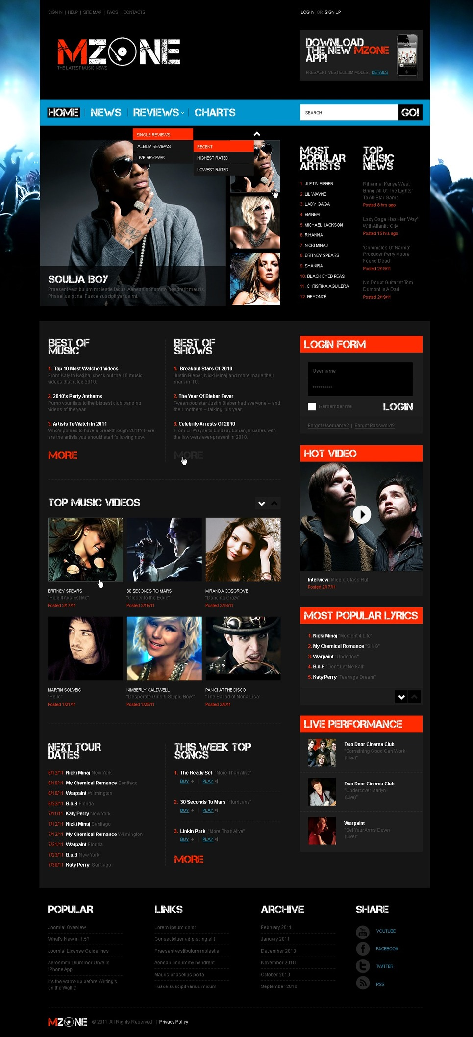 Music Portal Joomla Template New Screenshots BIG