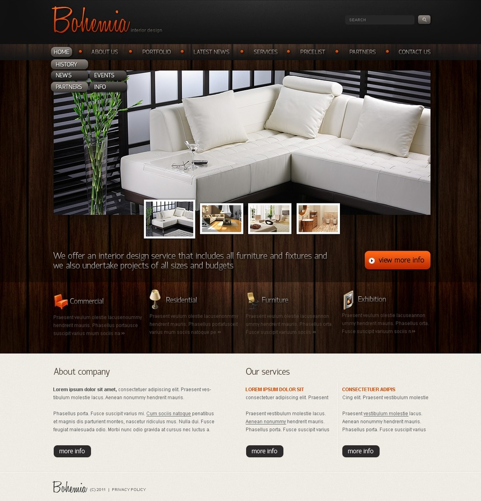Website template over interieur design 34495 for Interieur design software