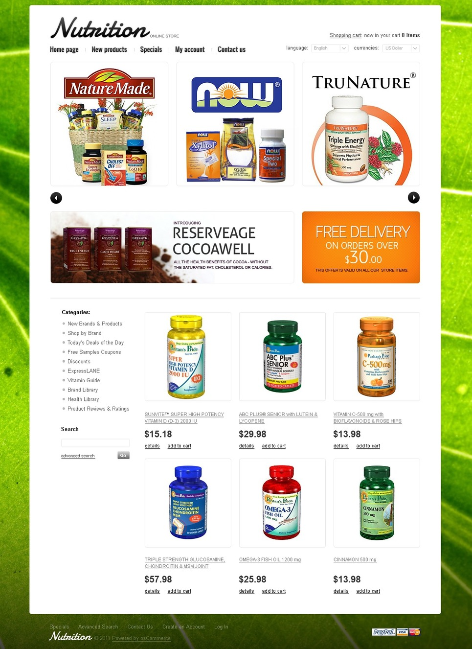 Nutrition Store OsCommerce Template New Screenshots BIG