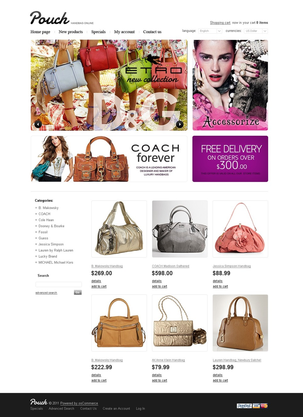 The Very Girly Pouch OsCommerce Theme