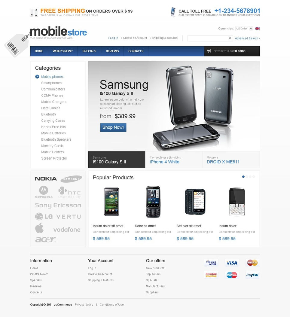 Attractive OSCommerce Gadget Theme