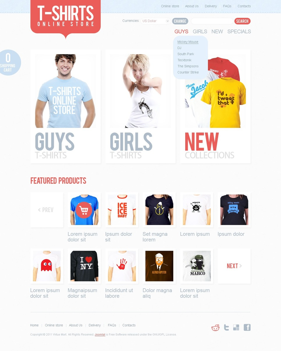 T Shirt Shop Virtuemart Template Web Design Templates