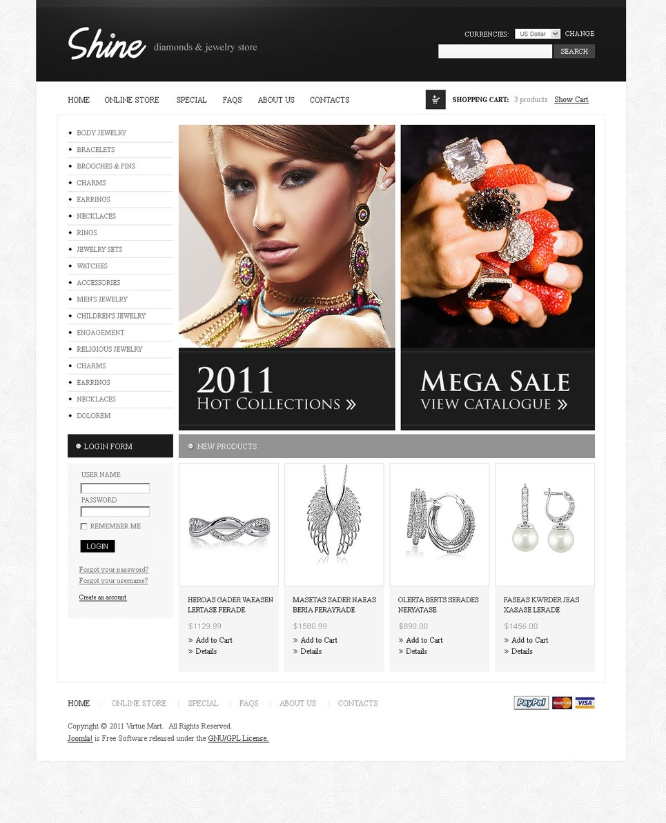 Jewelry VirtueMart Template New Screenshots BIG