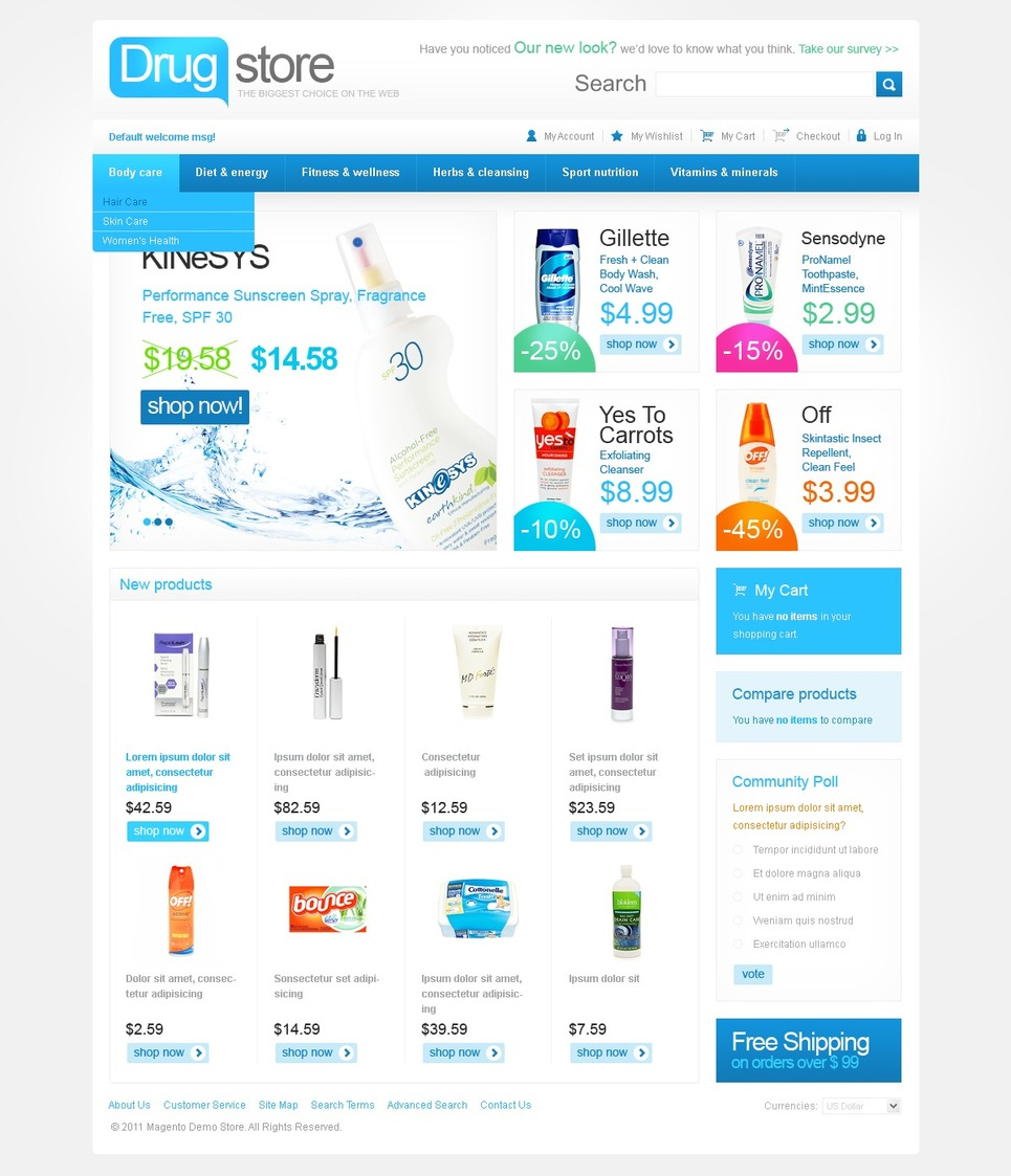 Drug Store Magento Theme New Screenshots BIG