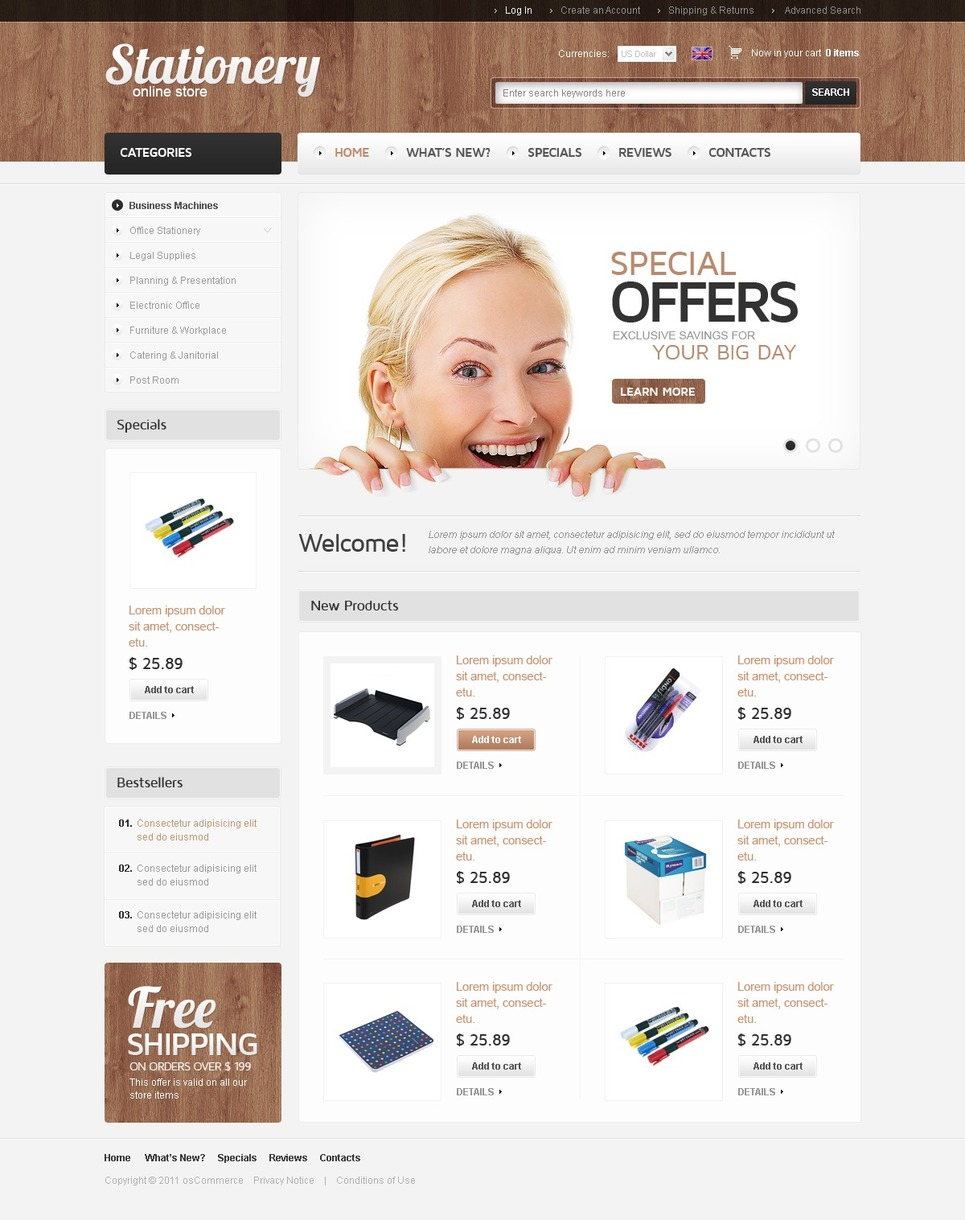 Stationery OsCommerce Template New Screenshots BIG