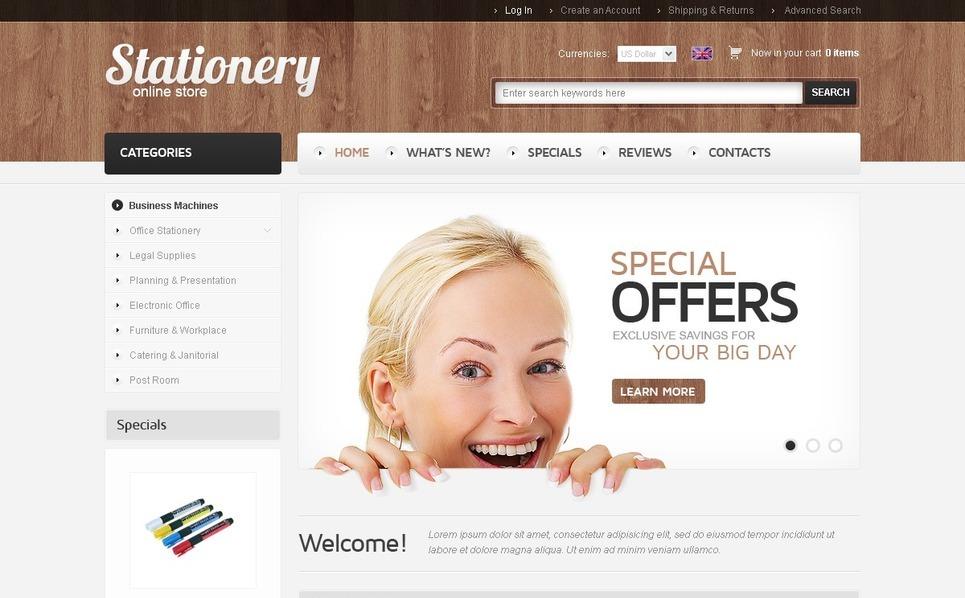 Stationery OsCommerce Template New Screenshots BIG
