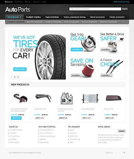 Auto parts - Sparkling Vehicle Stores and Accessories Stores Magento Theme