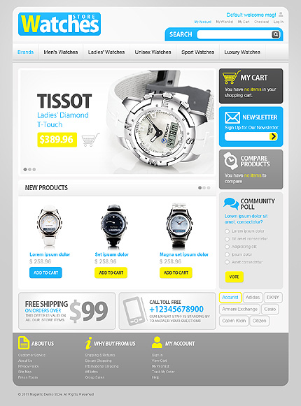 Watches store - Grand Watches Store Magento Theme