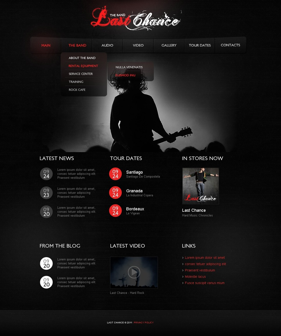 music band website template 35066. Black Bedroom Furniture Sets. Home Design Ideas