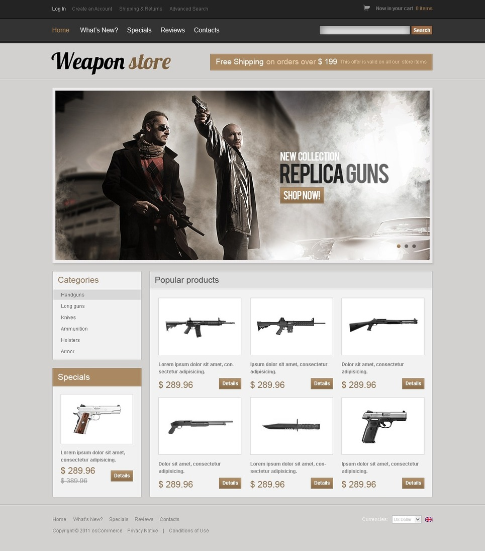 Gun Shop OsCommerce Template New Screenshots BIG