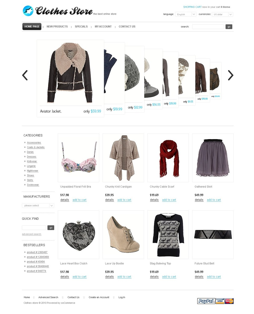 Cascading Style Apparel OSCommerce Template
