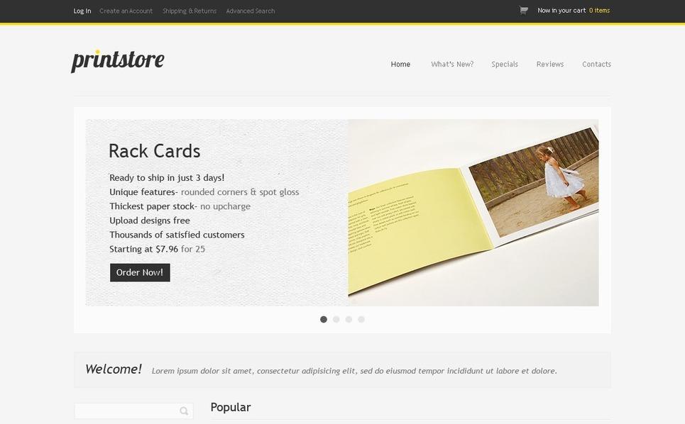 Print Shop OsCommerce Template New Screenshots BIG