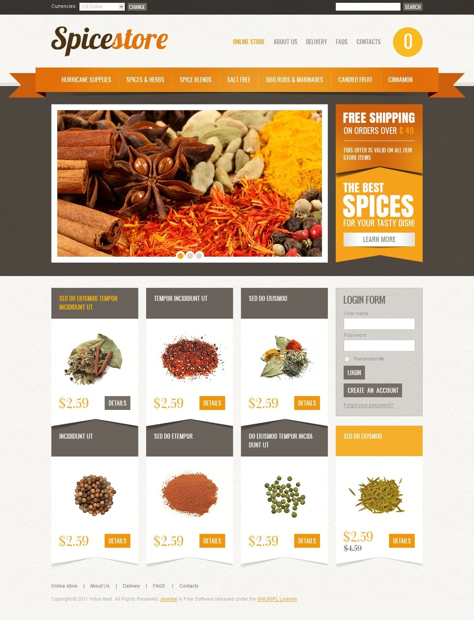 Spice Shop VirtueMart Template New Screenshots BIG